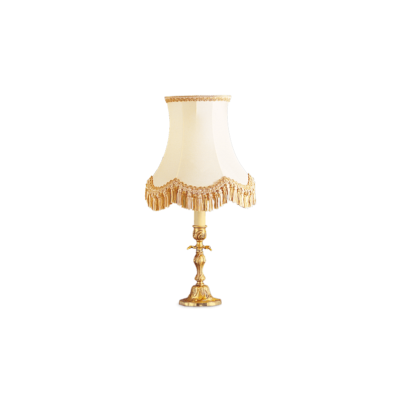 Lucien Gau Louis XV solid bronze table lamp with lampshade 15431
