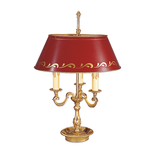 Lucien Gau Louis XV three-light lamp Bouillotte with lampshade 15223