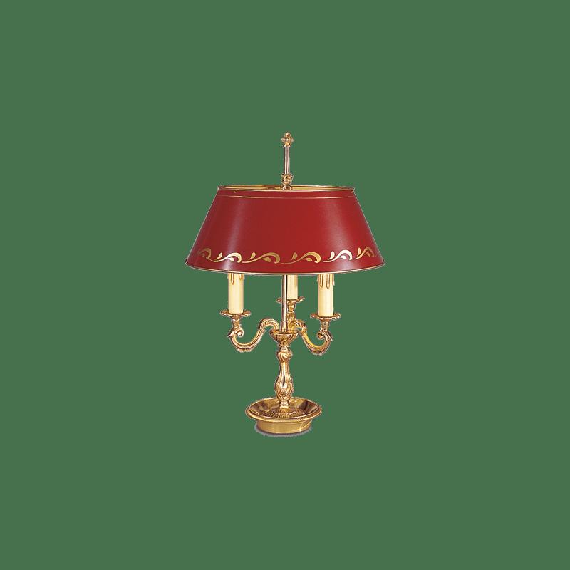 Lucien Gau Louis XV Drei-Licht-Lampe Bouillotte mit Lampenschirm 15223