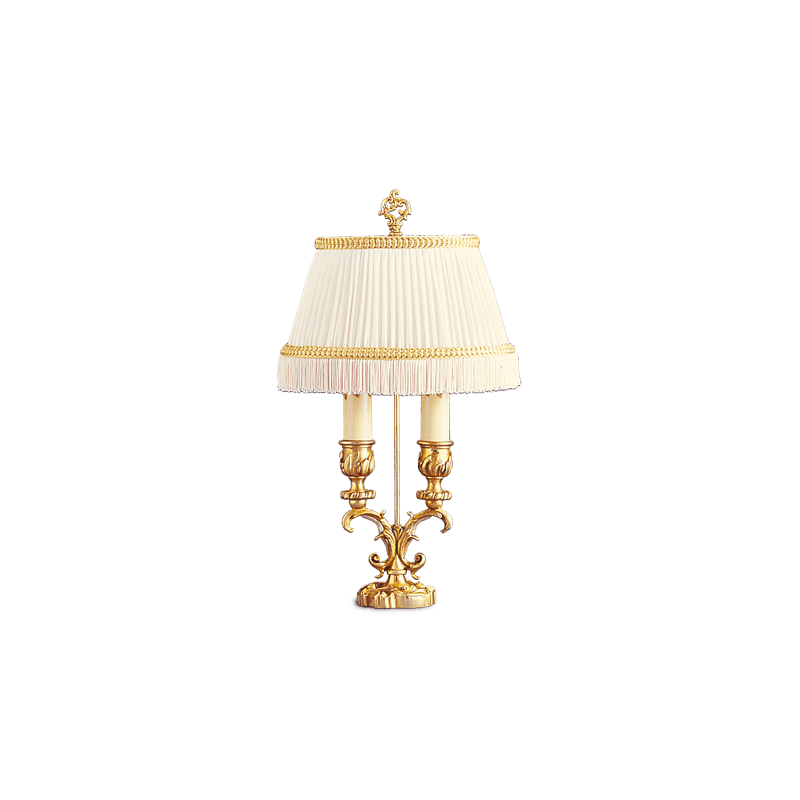 Lucien Gau Louis XV Zwei-Licht-Lampe mit Lampenschirm 15722