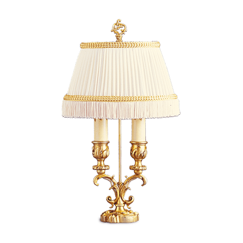 Lucien Gau Louis XV two-light lamp with lampshade 15722