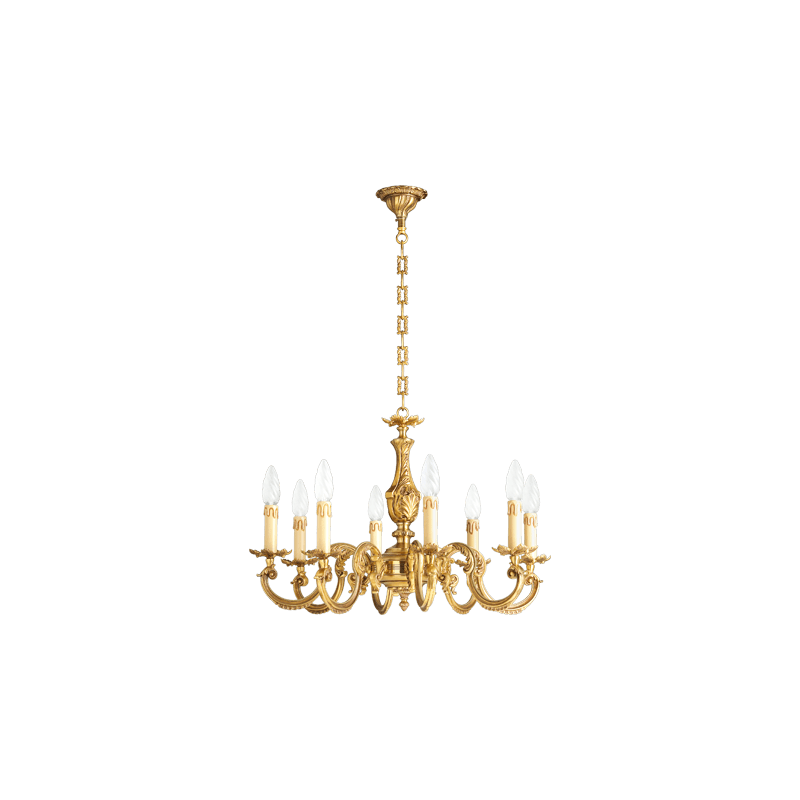 Lucien Gau Acht Lichter Louis XV vergoldeten Bronze Kronleuchter 15608