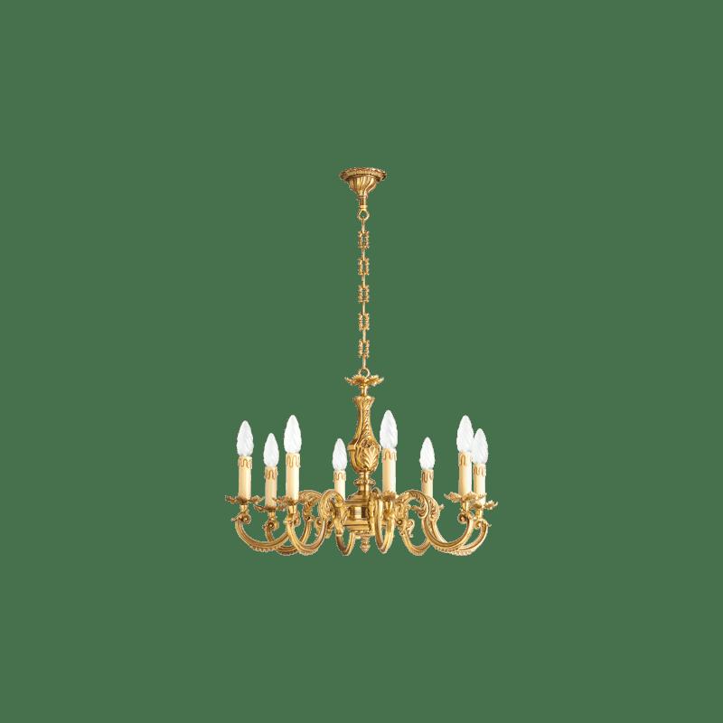 Lucien Gau Eight Lights Louis XV Gilt Bronze Chandelier 15608