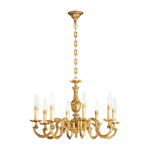 Lucien Gau Eight Lights Louis XV Gilt Bronze Chandelier 15608
