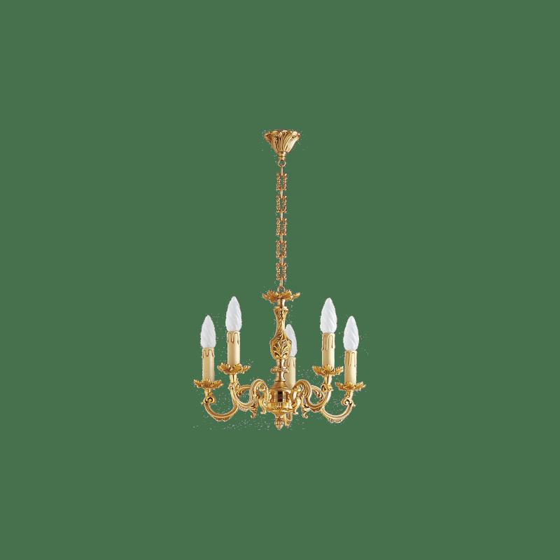 Lucien Gau Louis XV vergoldeter Bronze-Kronleuchter mit fünf Lichtern 15605