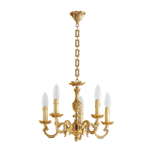 Lucien Gau Louis XV gilt bronze chandelier with five lights 15605