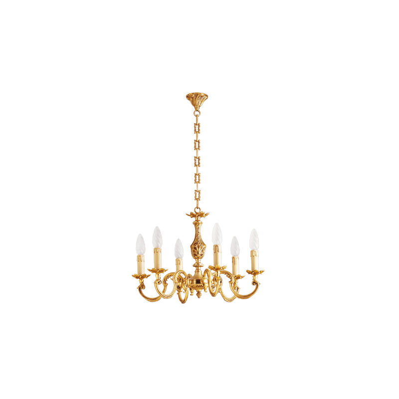 Lucien Gau Louis XV gilt bronze chandelier with six lights 15606