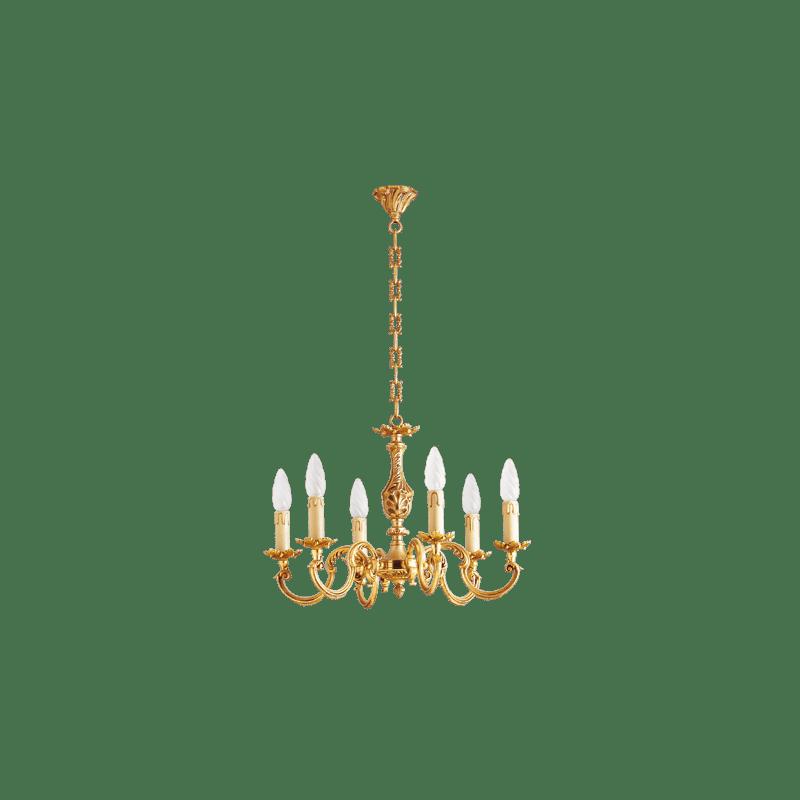 Lucien Gau Louis XV vergoldeter Bronze-Kronleuchter mit sechs Leuchten 15606