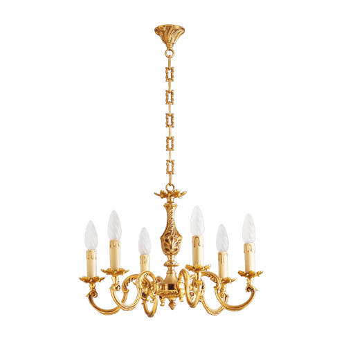 Lucien Gau Louis XV gilt bronze chandelier with six lights 15606