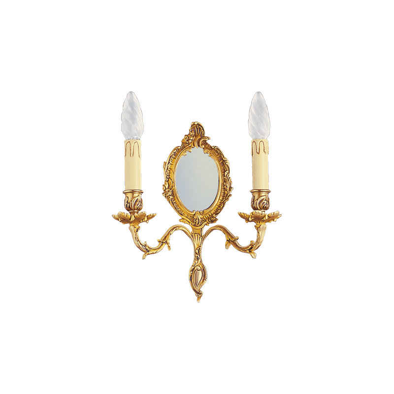 Lucien Gau Louis XV Wandleuchte mit zwei Leuchtern mit Spiegel 15372