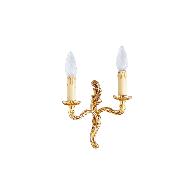 Lucien Gau Wall lamp in gilt bronze Louis XV with two lights 15422