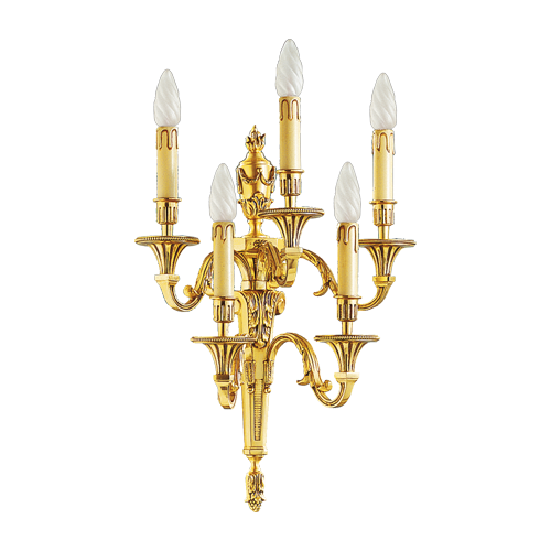 Lucien Gau Louis XVI solid bronze wall lamp with five lights 16655