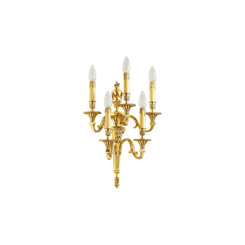 Lucien Gau Applique en bronze massif Louis XVI à cinq lumières 16655