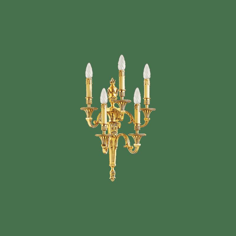 Lucien Gau Louis XVI Wandleuchte aus massiver Bronze mit fünf Leuchten 16655