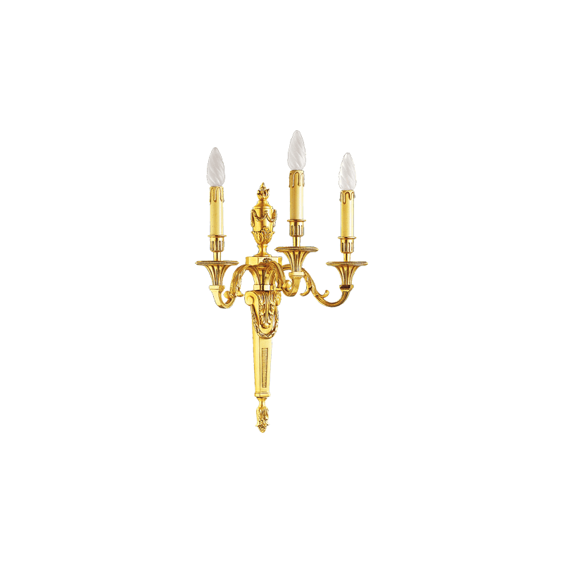Lucien Gau Wall lamp in solid Louis XVI bronze with three lights 16653