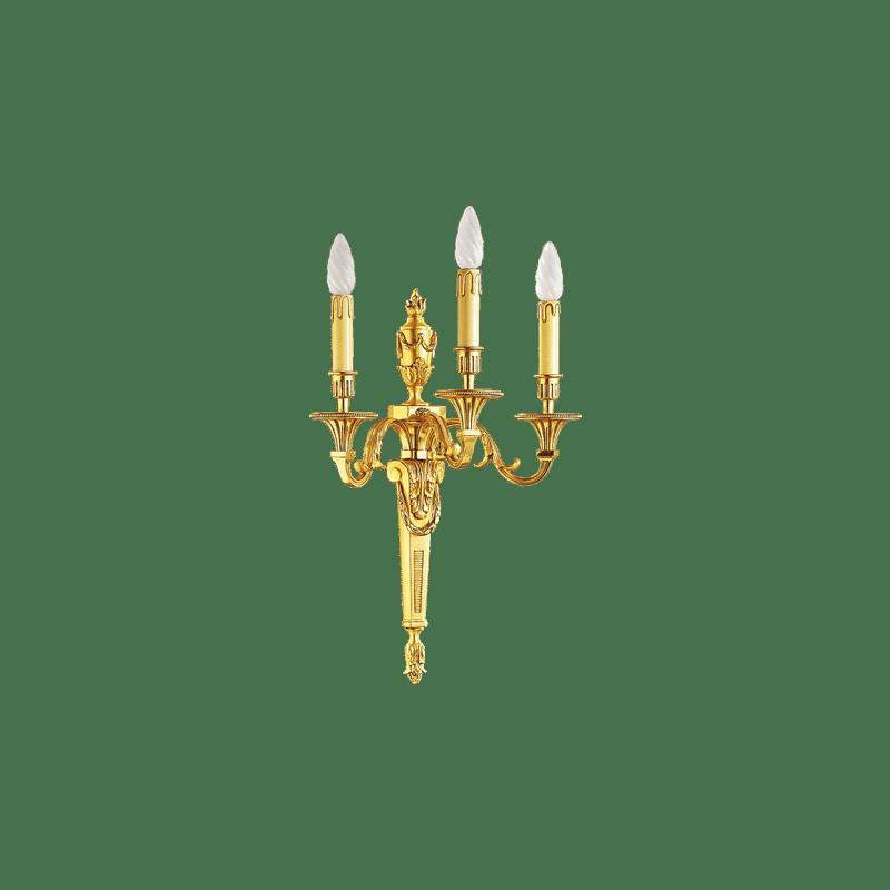Lucien Gau Wandleuchte aus massiver Louis XVI Bronze mit drei Leuchten 16653