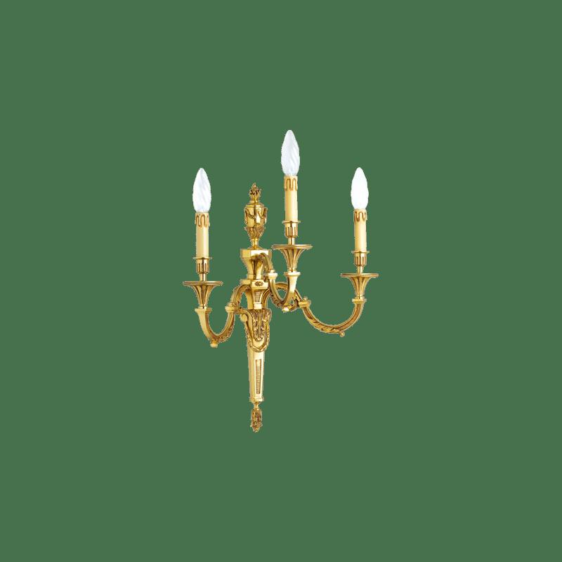 Lucien Gau Louis XVI Wandleuchte aus massiver Bronze mit drei Leuchten 16753