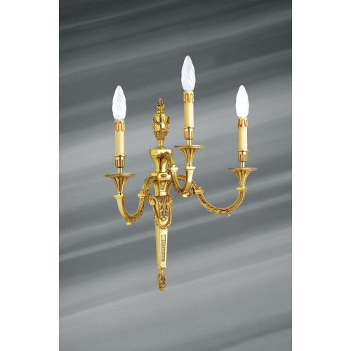 Lucien Gau Louis XVI solid bronze wall lamp with three lights 16753
