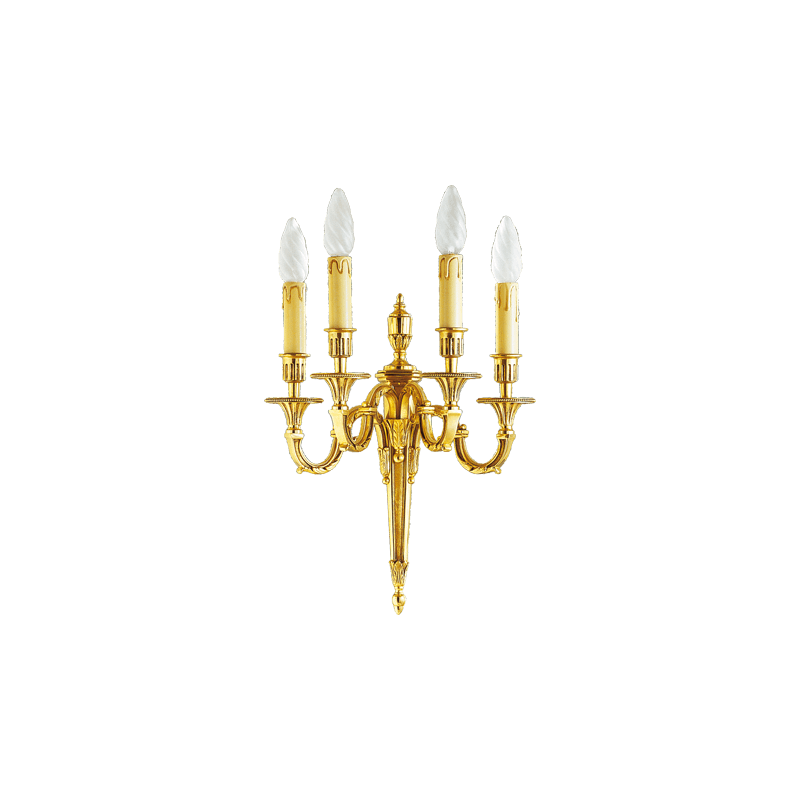 Lucien Gau Louis XVI gilt bronze wall lamp with four lights 16734