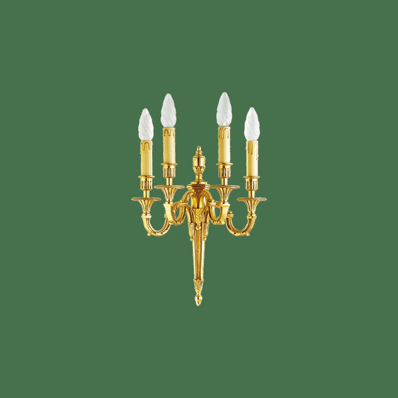 Lucien Gau Louis XVI vergoldete Bronze Wandlampe mit vier Leuchten 16734