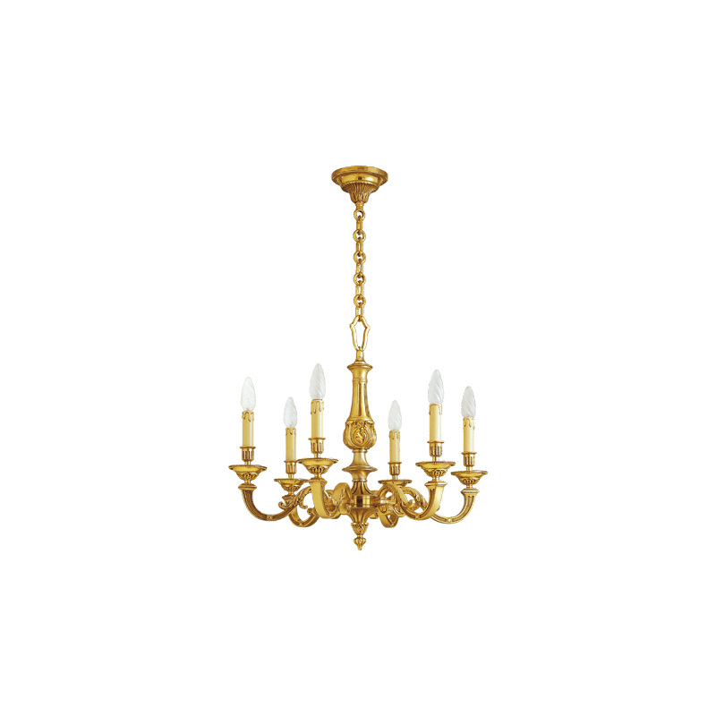Lucien Gau Louis XVI solid bronze chandelier with six lights 16246