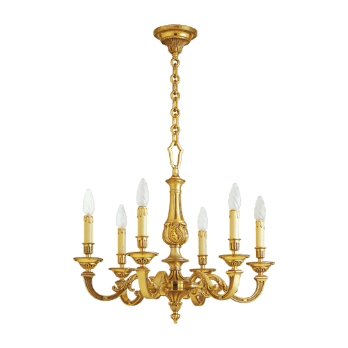 Lucien Gau Louis XVI solid bronze chandelier with six lights 16246