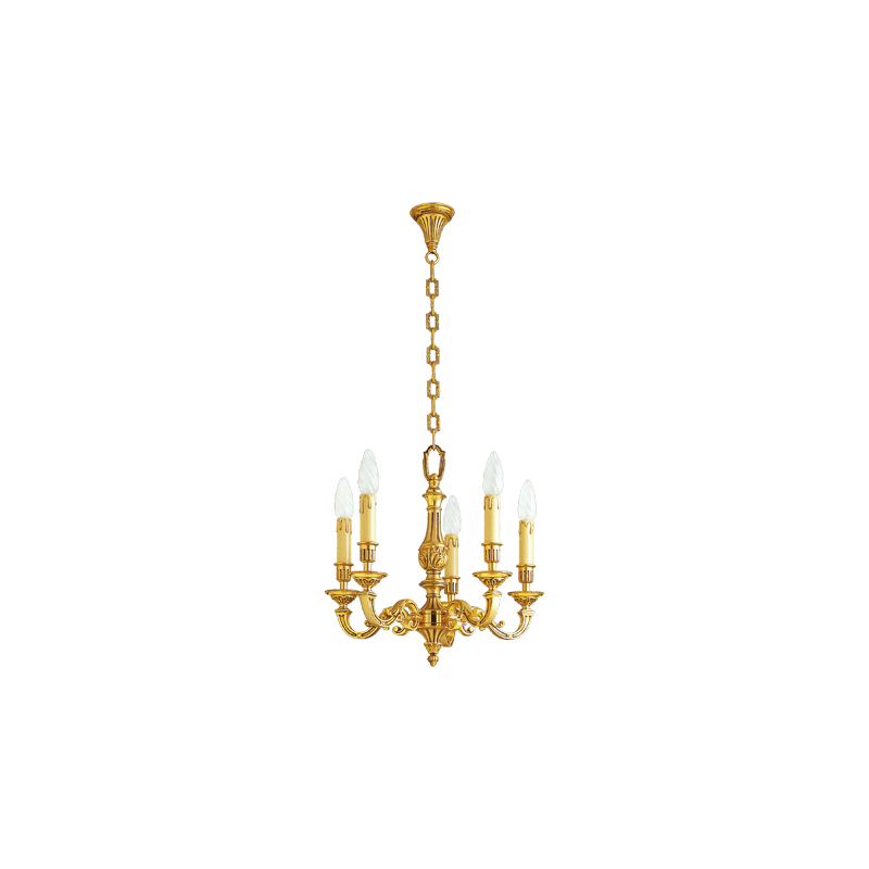 Lucien Gau Louis XVI massiver Bronze-Kronleuchter mit fünf Lichtern 16235