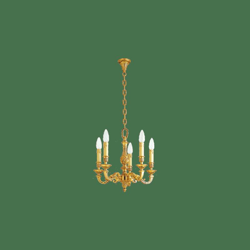 Lucien Gau Lustre en bronze massif Louis XVI à cinq lumières 16235