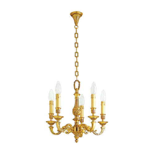 Lucien Gau Louis XVI massive bronze chandelier with five lights 16235