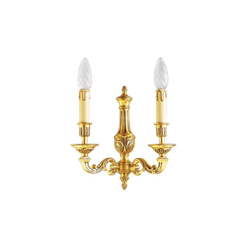 Lucien Gau Louis XVI bronze two-light wall light 16232