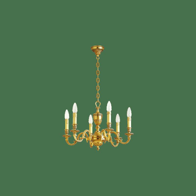 Lucien Gau Louis XVI bronze chandelier at six lights 16936