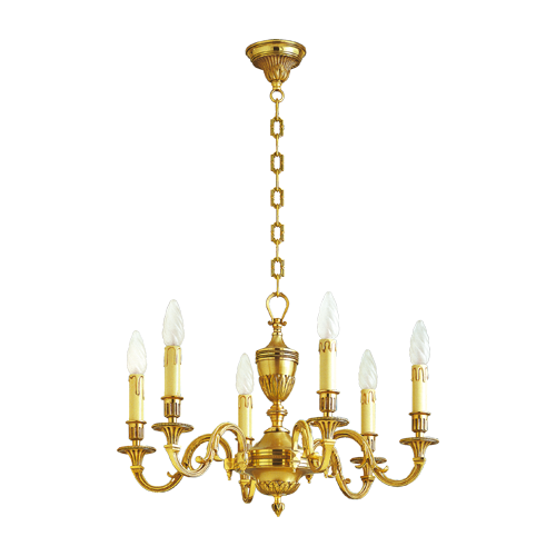 Lucien Gau Louis XVI bronze chandelier at six lights 16936