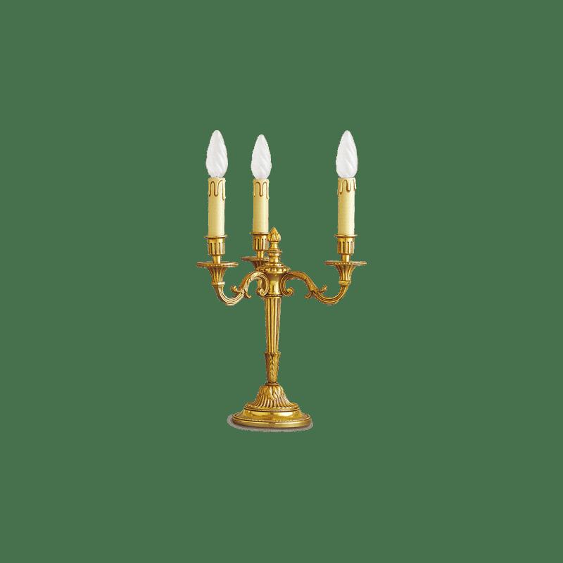 Lucien Gau Lampe en bronze doré Louis XVI à trois lumières 16053