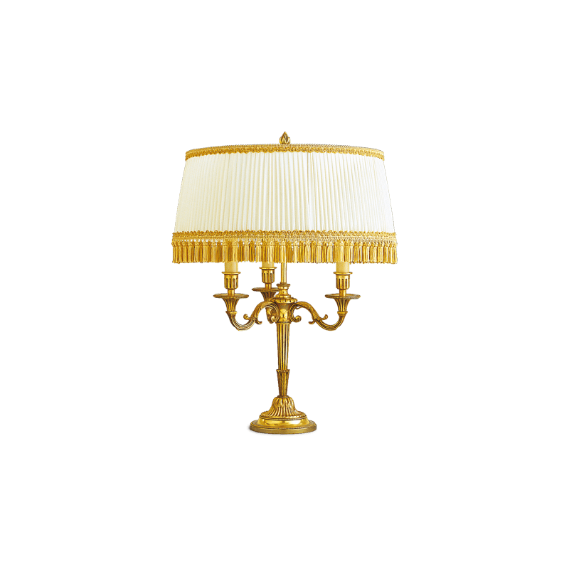 Lucien Gau Louis XVI Lampe mit drei Leuchten mit Lampenschirm 16053 bis