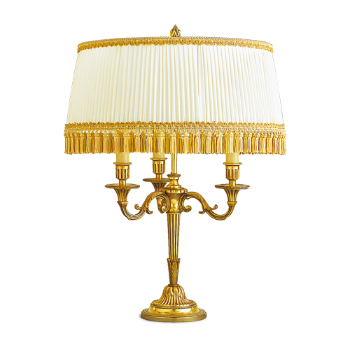 Lucien Gau Louis XVI lamp with three lights with lampshade 16053 bis