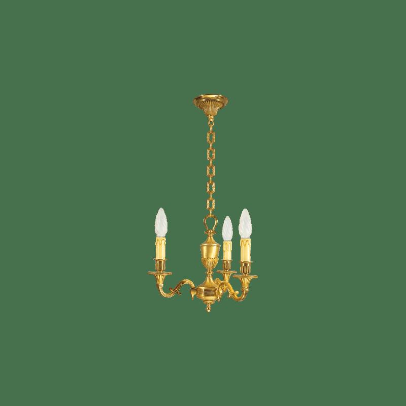 Lucien Gau Louis XVI massiver Bronze-Kronleuchter mit drei Leuchten 16933