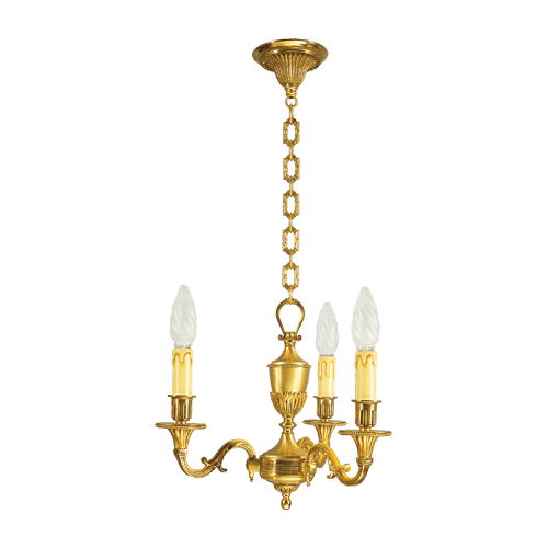 Lucien Gau Louis XVI massive bronze chandelier with three lights 16933