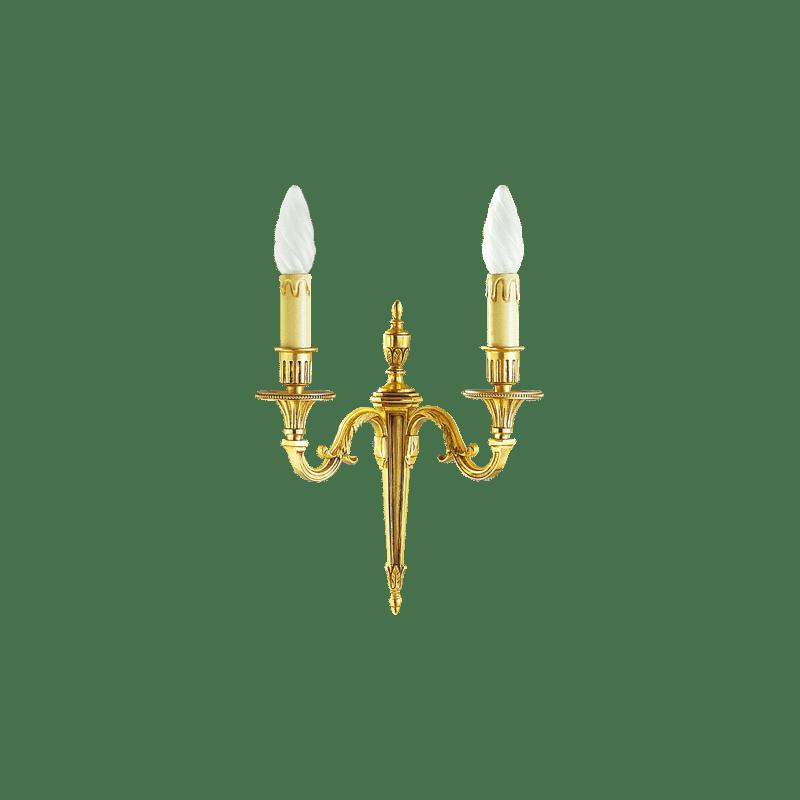 Lucien Gau Louis XVI Bronze zwei Licht Wandleuchte 16932