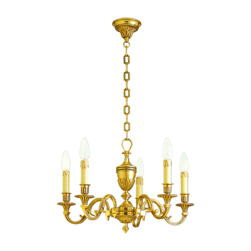 Lucien Gau Louis XVI bronze chandelier with five lights 16936/5