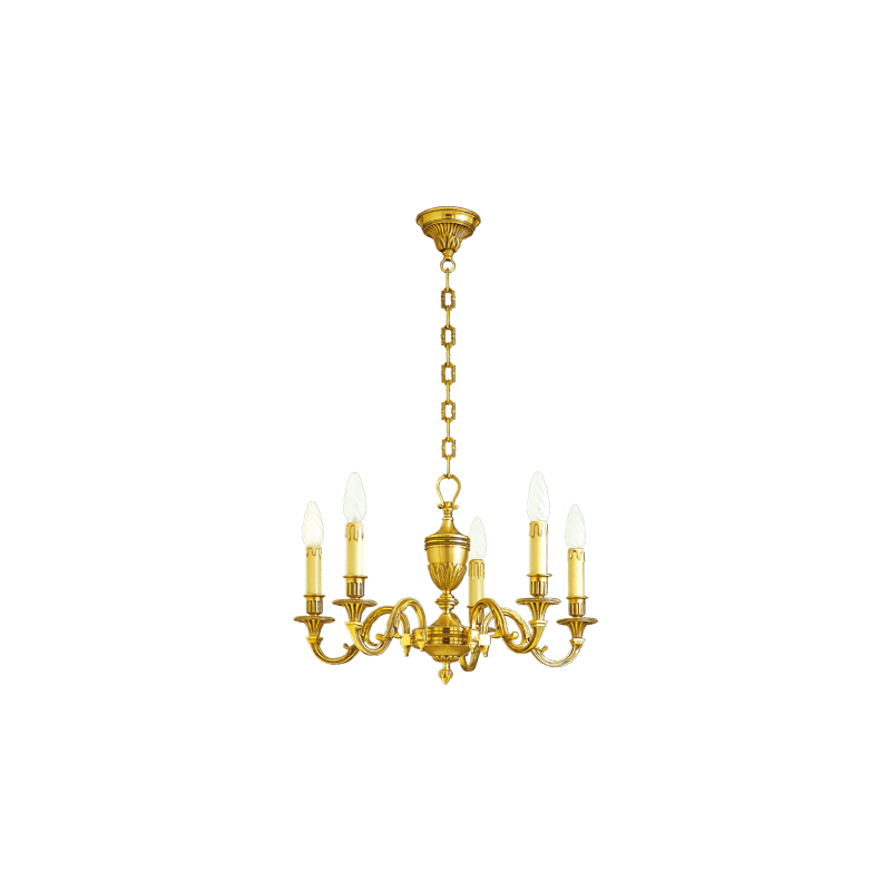 Lucien Gau Louis XVI Bronze Kronleuchter mit fünf Leuchten 16936/5