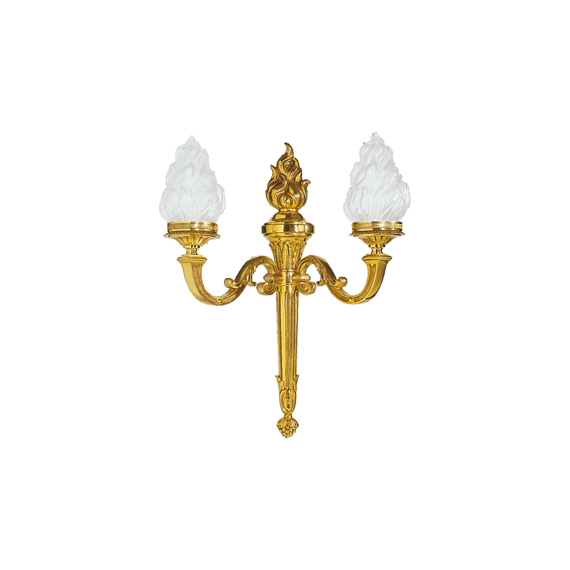 Lucien Gau Louis XVI Wandleuchte aus massiver Bronze mit zwei Leuchten 16192