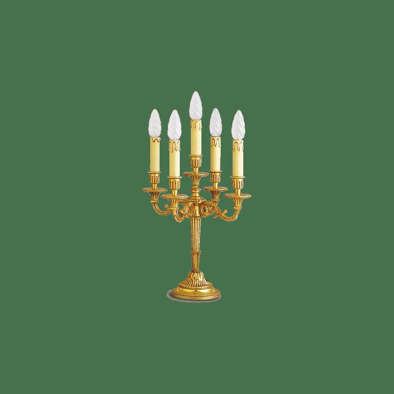 Lucien Gau Lampe chandelier en bronze doré Louis XVI à cinq lumières 16055