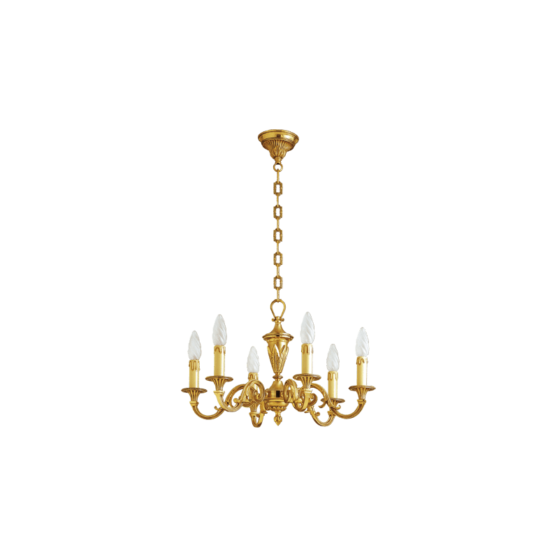 Lucien Gau Louis XVI solid bronze chandelier with six lights 16456