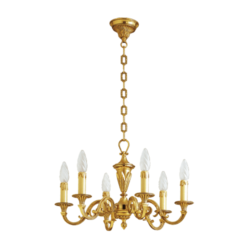 Lucien Gau Louis XVI solid bronze chandelier with six lights 16456