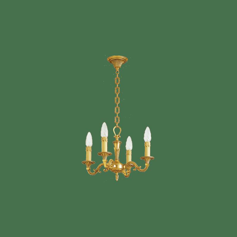 Lucien Gau Louis XVI massiver Bronze-Kronleuchter mit vier Lichtern 16454