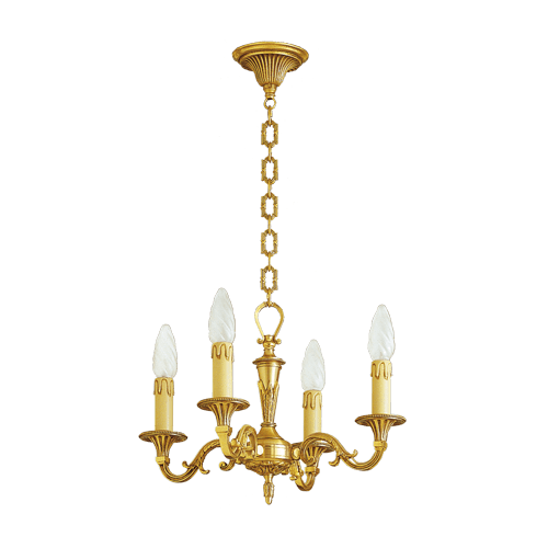 Lucien Gau Louis XVI massive bronze chandelier with four lights 16454