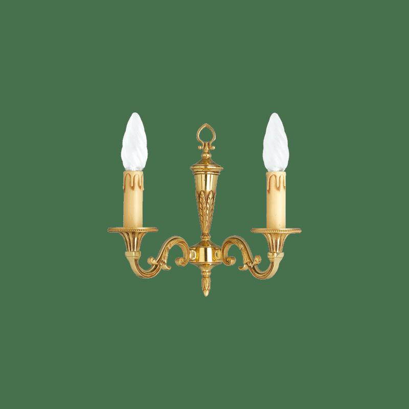 Lucien Gau Louis XVI Wandleuchte aus massiver Bronze mit zwei Leuchten 16452