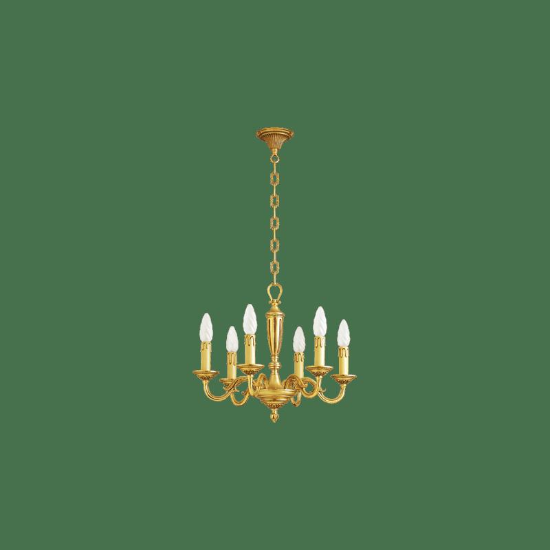 Lucien Gau Louis XVI solid bronze chandelier with six lights 16386