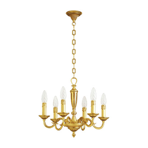 Lucien Gau Louis XVI solid bronze chandelier with six lights 16386