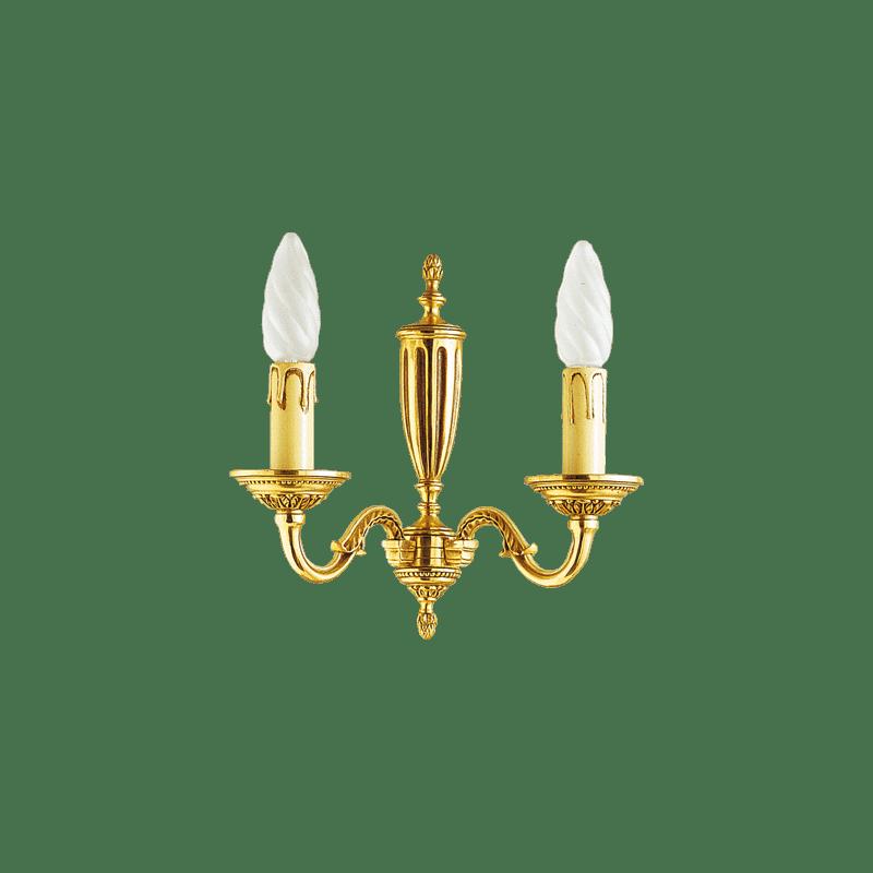 Lucien Gau Louis XVI Bronze Zwei-Licht-Wandleuchte 16382